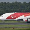 シンガポール建国50周年のA380、成田に到着