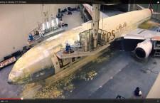 エミレーツ航空、777の再塗装動画を公開