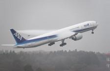 ANA、国際線新仕様777の改修完了 水しぶき上げシカゴへ、長距離ビジネスは全機フルフラットに