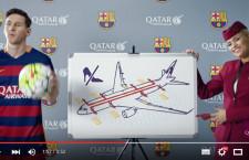 カタール航空、バルサ選手出演の機内安全ビデオ メッシ、ネイマールら登場