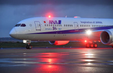 ANA、50機目の787羽田到着 記念ロゴ入り国際線仕様機