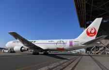JAL、ドラえもんジェット羽田到着 福岡行きが初便
