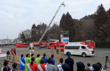 成田市で消防出初め式 女性消防団員やCA参加