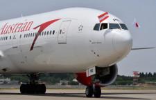 オーストリア航空、成田へ国旗掲げ再就航 1年8カ月ぶり