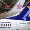 スカイマークの新737、翼端にサクラ咲く 27機体制に