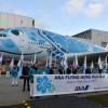 ANA、A380お披露目 空飛ぶウミガメ、ハンブルクでロールアウト
