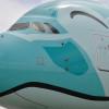 ほほえむウミガメ、まもなく就航 写真特集・ANA A380深緑の2号機成田到着