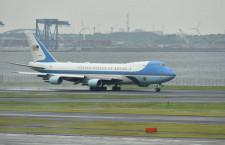 トランプ大統領、羽田から離日 エアフォースワンで