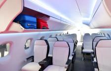 大きなバッグも機内持ち込み 写真特集・三菱スペースジェット 客室モックアップ