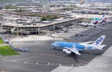 2号機待つハワイへ到着 空撮・ホノルルに2機そろうANA A380(初号機編)