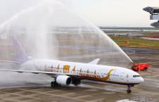 タイ国際航空、仙台便5年7カ月ぶり再開 初便は特別塗装機