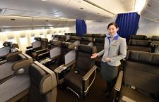 ANA、777国内線新仕様機公開 モニター・電源付き新シート