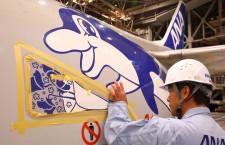 ANA、737-500に退役記念デカール スーパードルフィン3機に