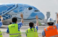 ANA空飛ぶウミガメA380、成田発着で遊覧飛行 抽選150倍、2機並びも