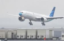 """ガルーダ、羽田にマスク""""着用""""A330neo初飛来「さあ、マスクを着けよう」"""