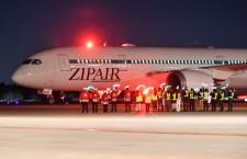 ZIPAIR、ホノルル就航 初便26人、西田社長「当面は不定期運航」