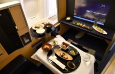 パスポートなしでもファーストクラス堪能 ANA、羽田駐機777で「翼のレストラン」初開催