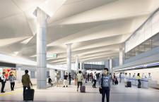 広島空港、ターミナル改修開始 出発ロビーに膜天井、災害耐性強化