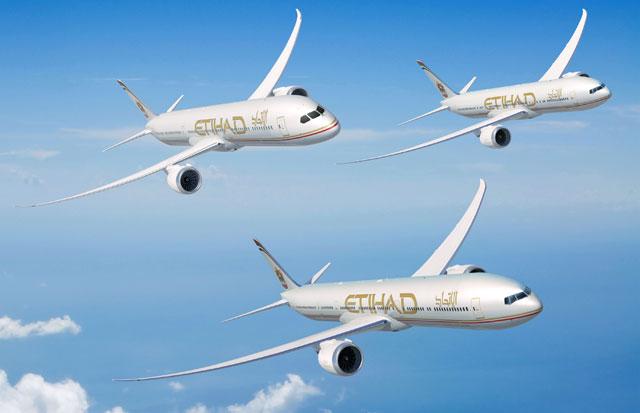 エティハド航空の777-9X、777-8X、787-10のイメージイラスト(ボーイング提供)