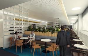 改修後のブリスベン空港ラウンジ(イメージ、カンタス航空提供)