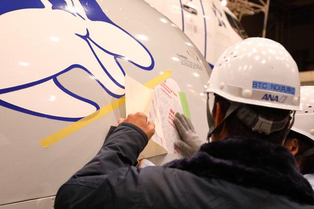 伊丹空港の格納庫で退役するANAウイングスの737-500に花束デカールを貼り裏紙を剥がす整備士 =19年12月7日 PHOTO: Masahiro SATO/Aviation Wire