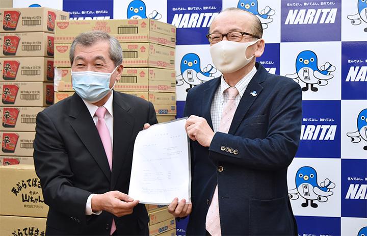 ピーチ、成田市に機内食寄贈 困窮者へ活用