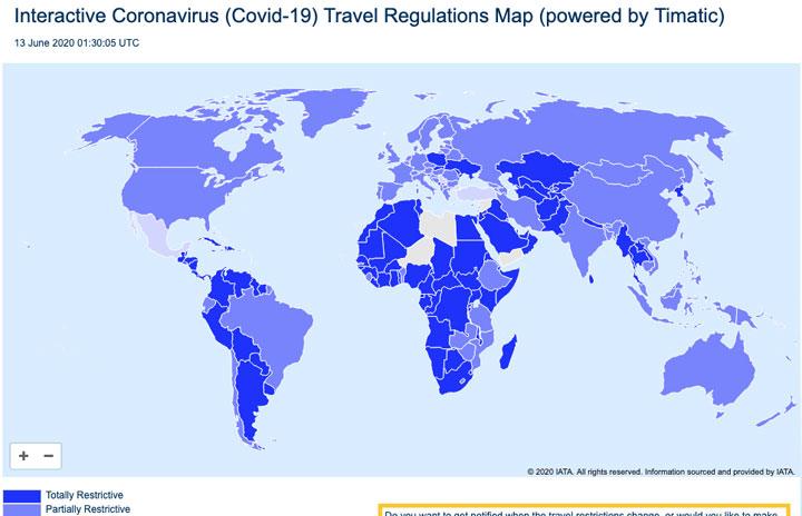 IATA、世界の入国規制リアルタイム表示