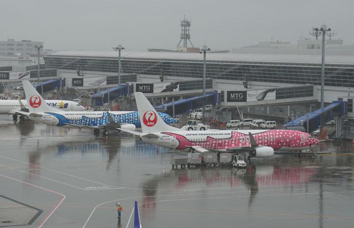 雨のセントレアにジンベエ2機並ぶ JALとJTA中部-那覇復便、1日3往復に