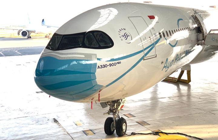 ガルーダ・インドネシア航空、マスク着用A330neo 羽田にも8日朝飛来