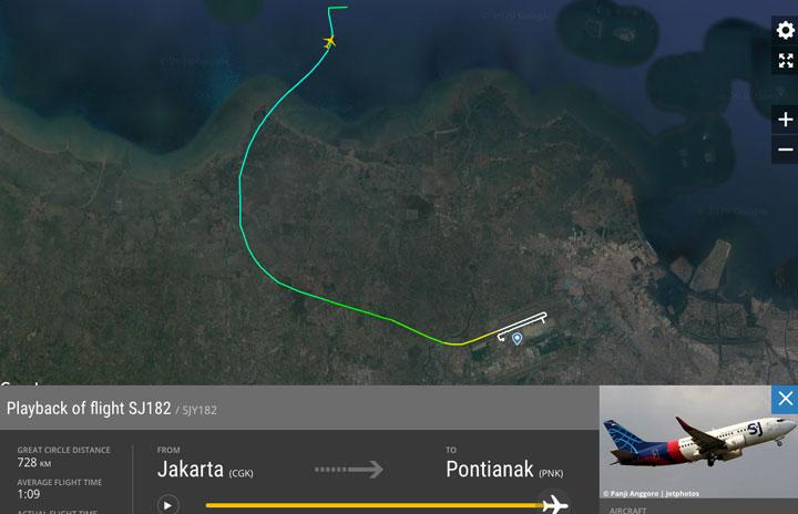 スリウィジャヤ航空SJ182便、ジャカルタで消息絶つ 737-500