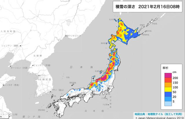 16日のJALとANA、大雪で76便欠航 北日本発着便