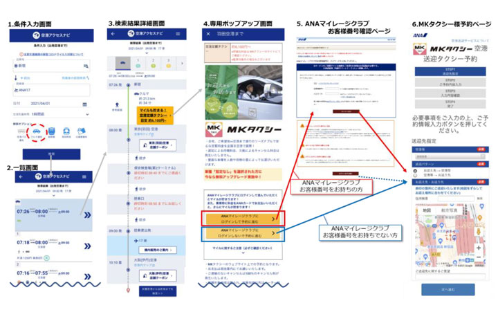 ANA、自社の経路検索サービスでマイル付与 MK空港定額タクシーと提携