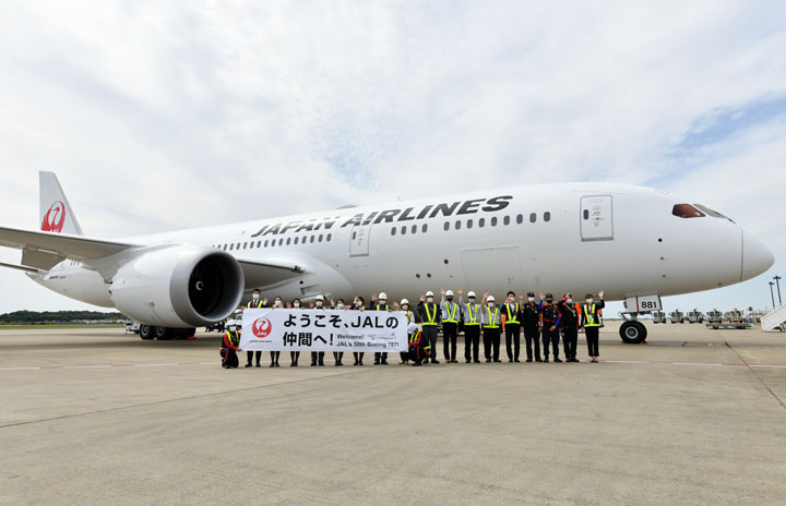 JAL、50機目の787成田到着 就航から9年
