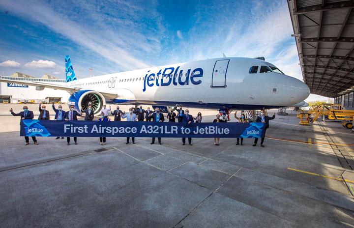 ジェットブルー、A321LR初受領 フルフラットシートでNYからロンドンへ